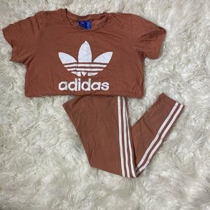 Adidas leggings and tee set